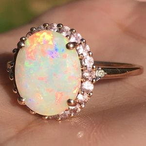 10k Solid Rose Gold Opal & Pink Sapphire Halo Ring